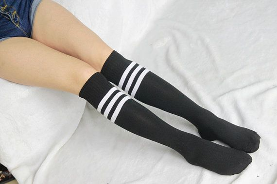 Womens Boot Socks Knee Scoks Black Striped Crossing by SisiSocks