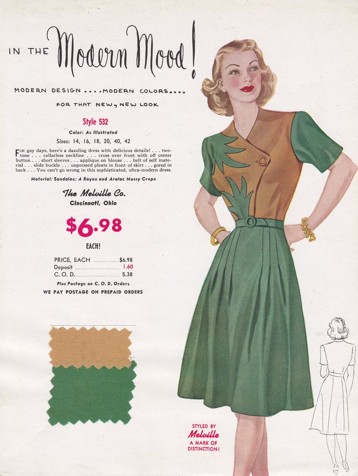Get in a modern mood with this fun two colour 1940s dress.