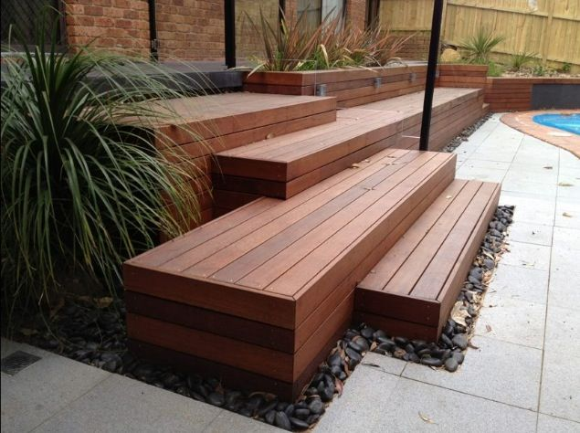 Staggered steps deck stones pavers garden ideas for Garden decking designs pictures