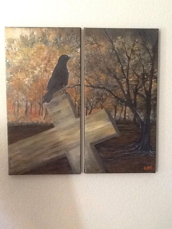 https://www.etsy.com/listing/209007335/black-crow-on-cross-2-12x24-canvases
