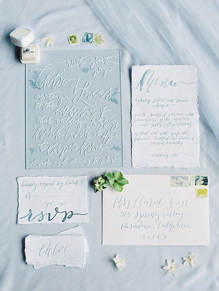 Acrylic and Calligraphy Wedding Invitations | Taylor Lord Photography | http://heyweddinglady.com/luminous-illusion-bridal-style-blue-white/
