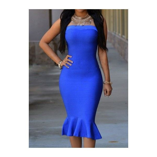 Open Back Zipper Closure Blue Mermaid Dress ($18) found on Polyvore featuring women's fashion, dresses, blue, blue dress, print dress, strapless knee length dress, pattern dress and sleeve dress