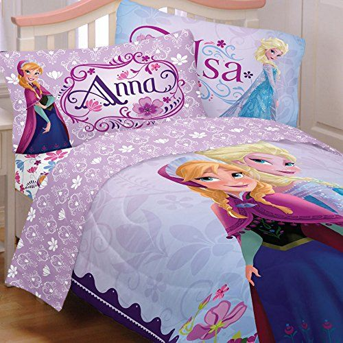 Frozen Bedding Sets in Twin.  #Elsa and Anna together on this #FrozenBedding set.