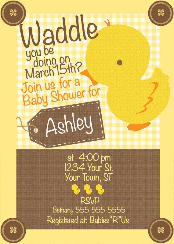 Duck Baby Shower Invitation With BONUS Labels & by MacysandBaileys, $10.00