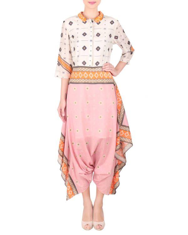 Cotton silk dhoti jumpsuit |  Shop now: www.thesecretlabel.com
