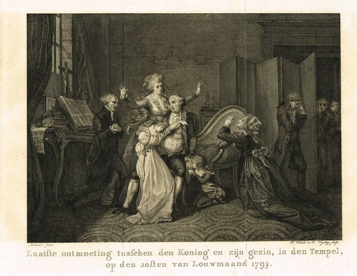 Derniers adieux de Louis XVI à sa famille (version allemande) - gravé par R. Vinkeles & D. Vrydag d'après Benazech