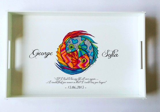 white porcelain handmade plexi tray with yin yang coy fish design perfect for a summer wedding ! www.storymood.com