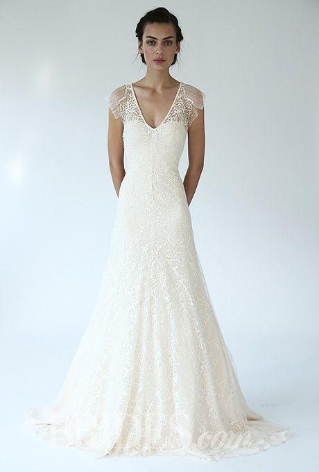 Lela Rose - Fall 2014 - The Forest Lace A-Line Wedding Dress with V-Neck |