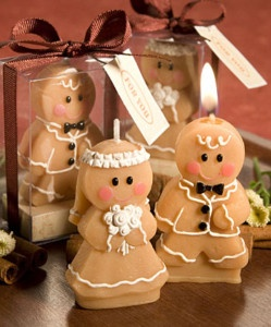 6 Gingerbread Bride and Groom Candle Wedding Favours