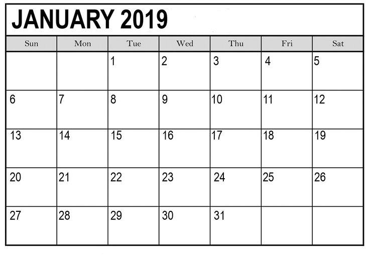 Blank Calendar January 2019 Pages Blank Calendar January 2019 Word