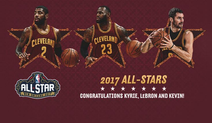 Kevin Love will join Cavaliers teammates LeBron James and Kyrie Irving on the Eastern Conference roster, marking the third time three Cavs players have been selected as All-Stars after Brad Daugherty, Larry Nance, and Mark Price in 1989 and 1993. | 2017-01-26