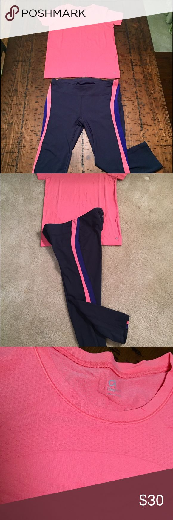 GAP Body workout sportswear outfit GAP body fit capri pants (size L) and matching top (size M). Top has a tiny tiny stain on the front (pictured). GAP Pants Capris