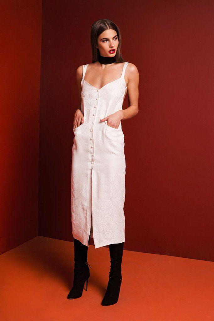 The GIGI dress in white SCF jacquard .. Exclusive to #stonecoldfox