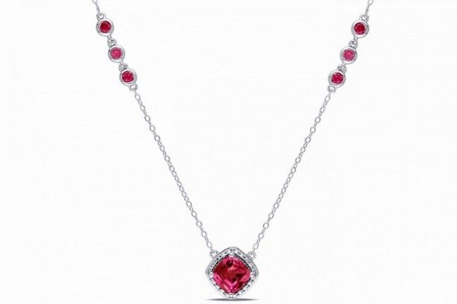 Affici Sterling Silver Necklace 18ct White Gold Plated Ruby Halo with Diamond CZ Gems
