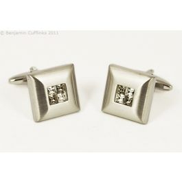Smokey Crystal Four Square Cufflinks - These cufflinks are made from a brushed frame with four crystals in the centre. The quality is exceptional.