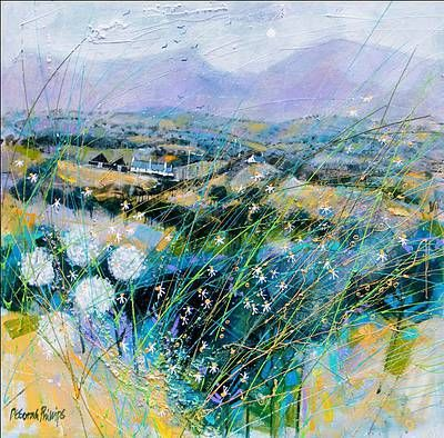 Scottish Artist Deborah PHILLIPS-Black Barns and Heathery Bens