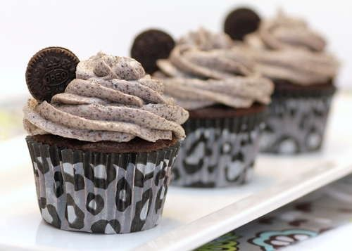 Oreo cupcakes  They are probably the best Oreo cakes I have ever tried. A lot of cake's that I have experimented with before are like a vanilla cake with bits of Oreo in them, which didn't really give them enough Oreo flavor. But these were a lot better. I used a dark chocolate fudge cake mix instead of just a regular chocolate cake mix, w