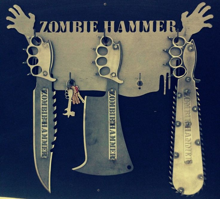 Zombie Hammer Though they might appear to be props, they are actual weapons. Models shown above are the Brainsaw, Zombie Hammer, Piece Maker and Street Cleaver. The last photo is a rack they sell that...