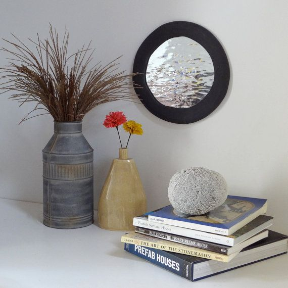 Dark Gray Water Mirror with Graphite Gray Frame by ThingsTogether