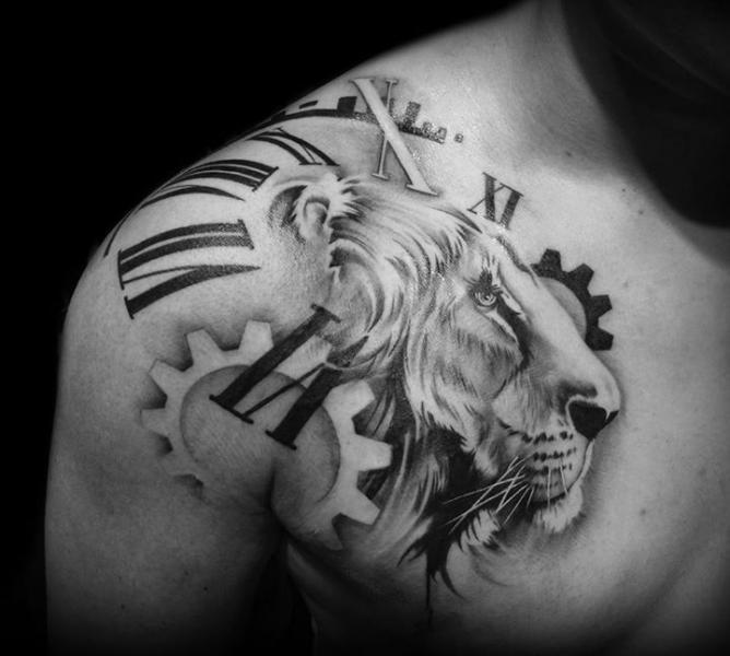 Shoulder Gear Clock Chest Lion Tattoo by Westfall Tattoo