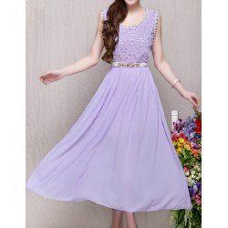 Wholesale Elegant Women's V-Neck Sleeveless Color Block Chiffon Dress (BLACK,L), Chiffon Dresses - Rosewholesale.com