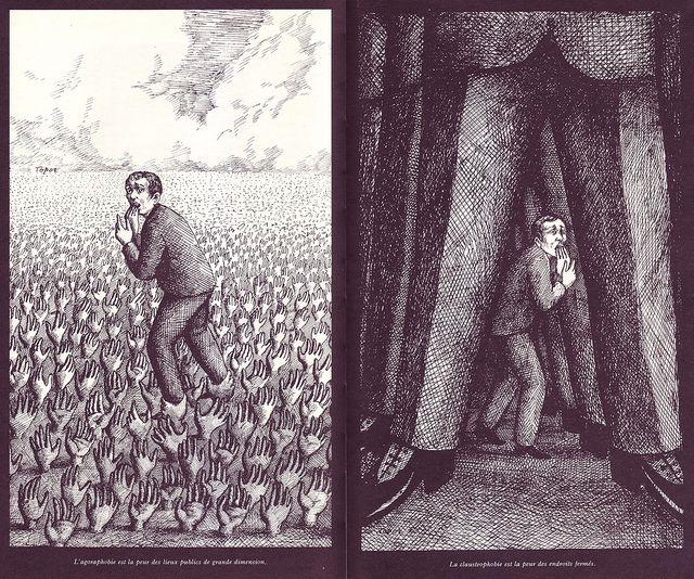 02 Agoraphobie et Claustrophie, illus. Roland Topor (Le Livre de Sante, v.9, 1967) @Edna Romero #RolandTopor