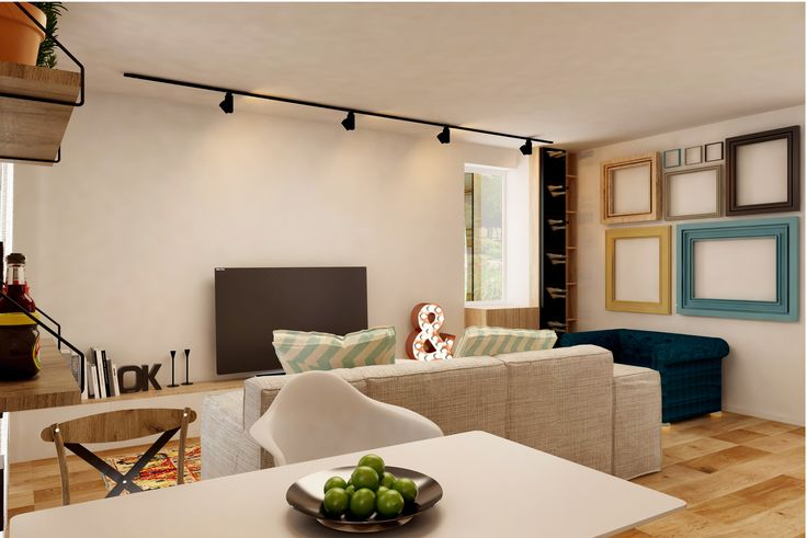 #white #emeraldgreen #beige #livingroom #lights #curtains #spots #sofa #chairs #table #shelves #wood #plants #green #bigwindows      #&
