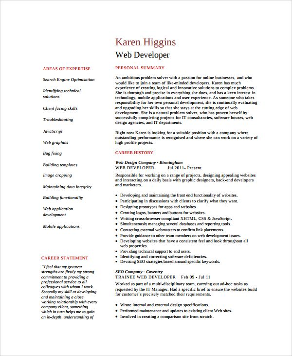 The 25+ best Web developer resume ideas on Pinterest Web - popular resume templates
