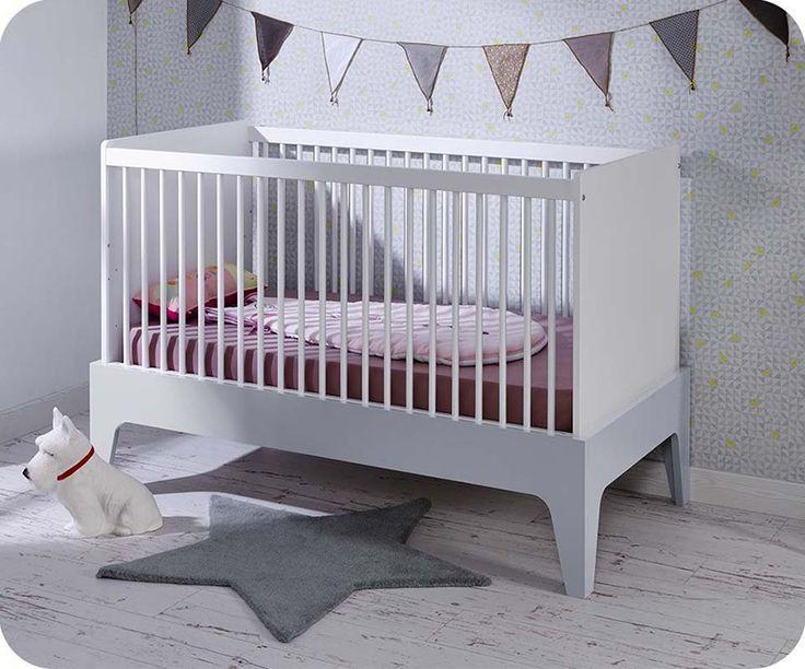Mitwachsendes Babybett Oléron weiß und hellgrau 70x140cm