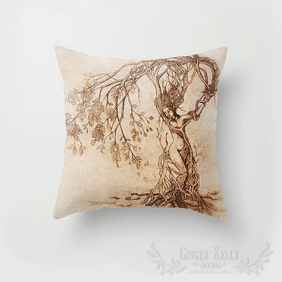 Dryad Earth Mother Cushion Cover, Faerie Tree Woman Pillow Slip
