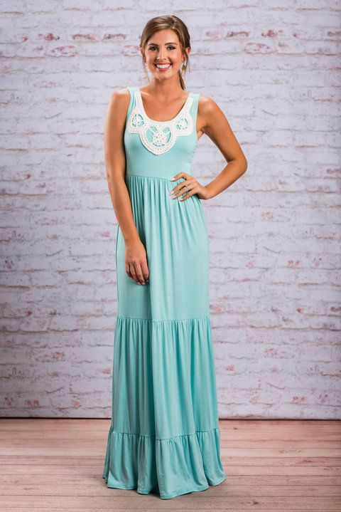 """Darling Dreamer Maxi Dress, Mint"""