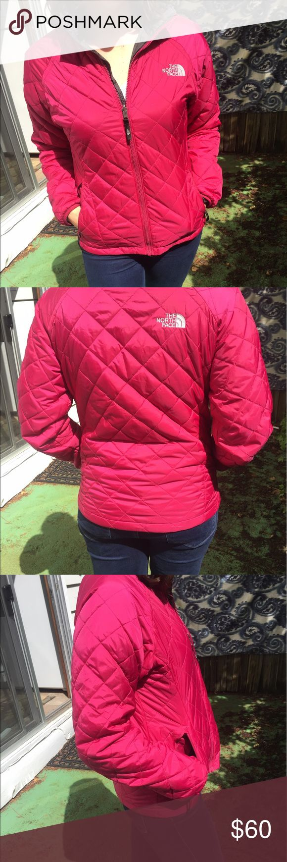 The North Face puffy pink snow jacket Puffy jacket from North Face. Great condition. It's a magenta pink color. Hits right at hips. Great for cold temps or snow. Size M but might also fit L. I originally bought it as a set with the other pink North Face in my closet. They can zip together. If you buy both I'll give you a discount! The North Face Jackets & Coats Puffers