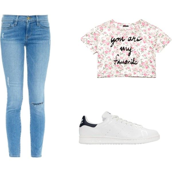 tenue décontracté by louise-gourci on Polyvore featuring mode, Forever 21, Frame Denim and adidas Originals