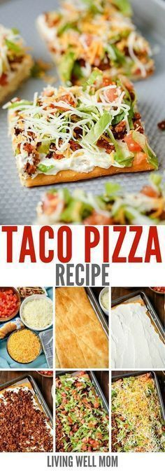"""Taco Pizza is a great as an easy family dinner (you can even make it the night before) or a tasty appetizer. Kids love this recipe and the cream cheese/sour cream """"sauce"""" and spicy taco flavor are a hit with adults too."""