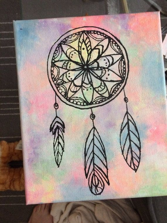 Hand painted dream catcher on canvas
