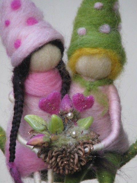 Needle felted decoration Gardeners of love