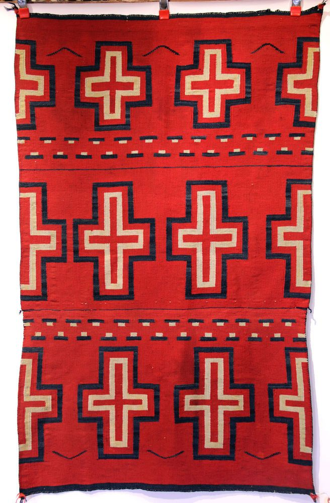 Rare Navajo Indian Classic Blanket w/ Raveled Red c.1860s Superior Condition