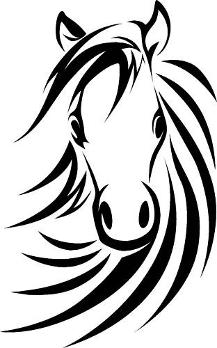 HORSE HEAD RIDING LARGE WALL ART STICKERS cute kid room girl bedroom stencil HO6