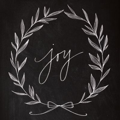 barefoot-in-the-country: Chalkboard Art - Joy Wreath Art Print by Baron Art Co