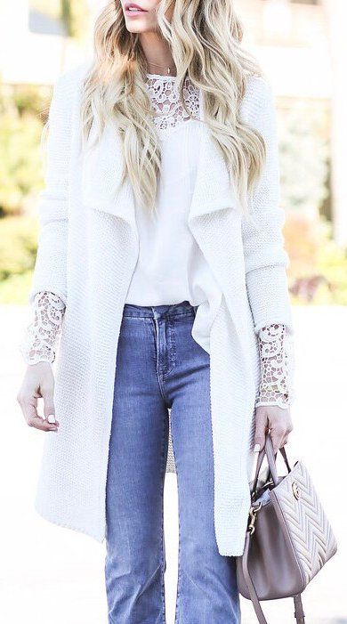 White Coat / White Lace Top / Bleached Denim