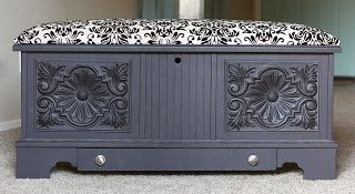 cedar chest makeover and seat cushion how to
