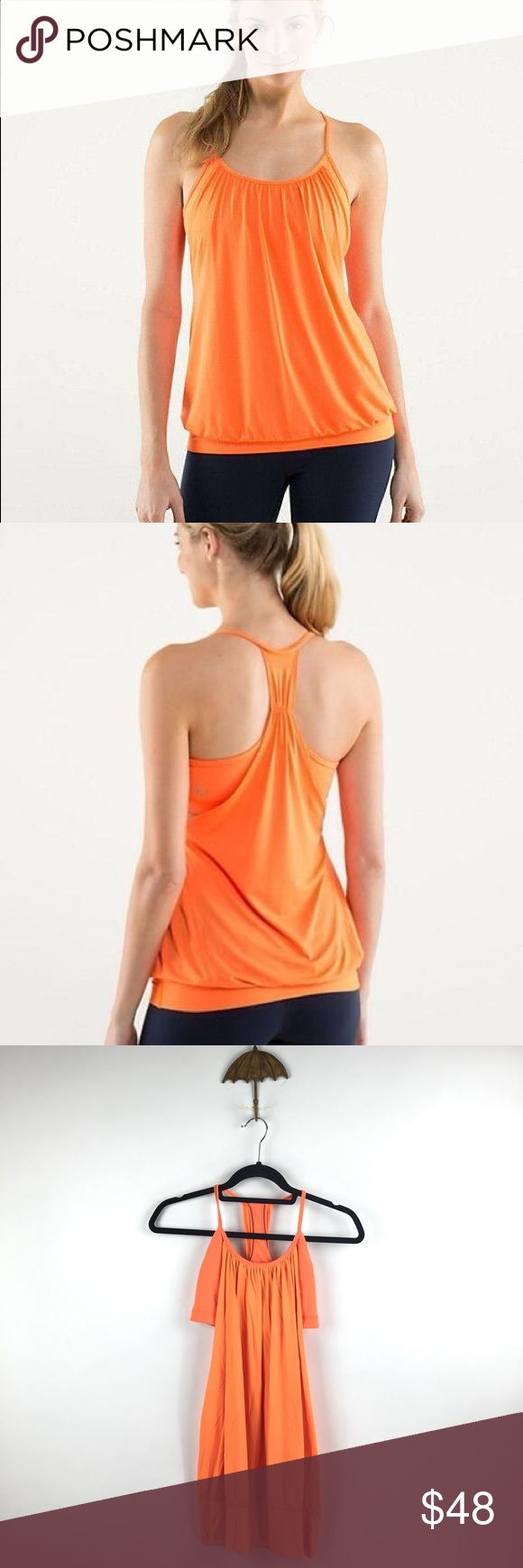 Lululemon No Limits Tank In Pizazz Orange 10 A22 Lululemon No Limits Tank In Pizazz Women's Sz 10 Top Orange Built In Bra A22  In good preowned condition with no known flaws and light overall wear. Size Tag is missing but size dot is inside bra, does not include padding for cups. lululemon athletica Tops Tank Tops
