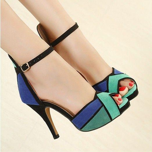 wholesale lage prijs nieuwe 2014 fashion damesschoenen peep  teen pompen sexy super hoge hakken mode enkelbandje schoenen oranje blauw 0 in     kenmerken100% gloednieuwezonder doosoppervlaktematerialen: faux suède en pu leerhakken: ca.  van vrouwen pompen op AliExpress.com | Alibaba Groep