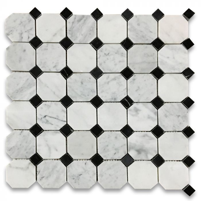 Carrara White 2 Inch Octagon Mosaic Tile W Black Dots Polished Marble From Italy Octagon Mosaic Tile Carrara Carrara Marble Tile