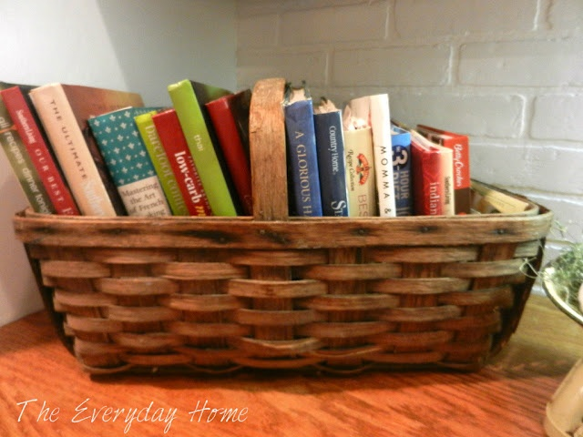 Great way to use an old basket and to display cookbooks