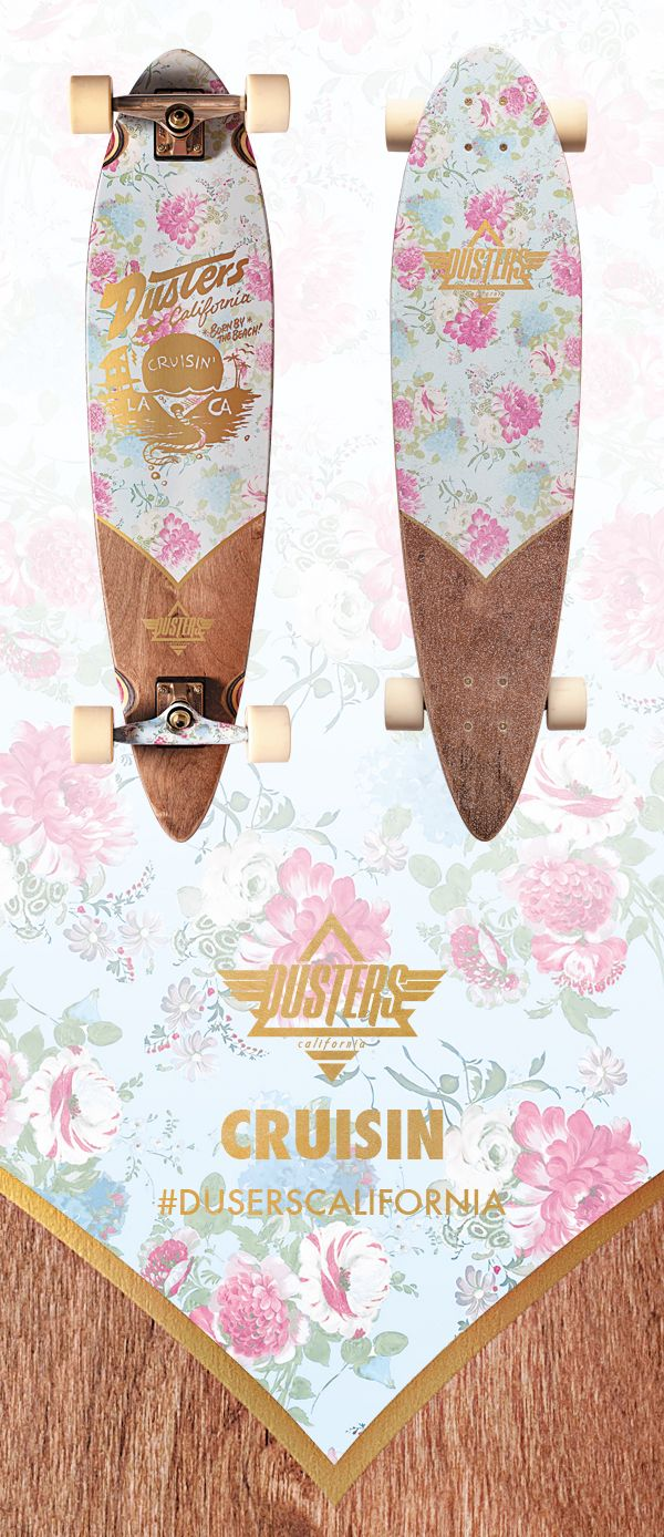 This one is for all the ladies out there looking for a new longboard. Ride in style this spring with the Dusters Cruisin, featuring a graphic wrapped back truck and gold metallic ink.
