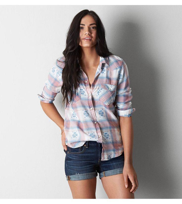 Peach AEO Plaid Western Button Down Shirt