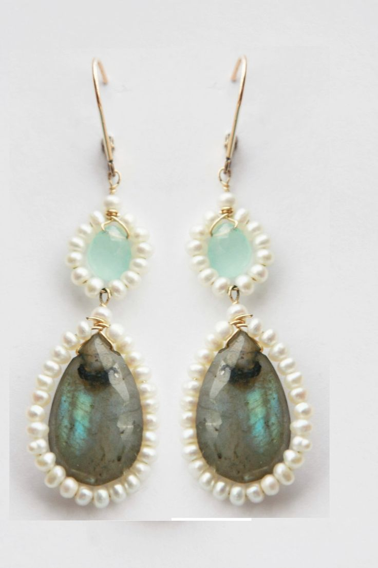 Pearl wrapped labradorite earrings with aqua chalcedony dangles