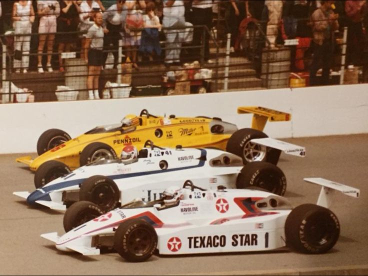 (1) Tom Sneva - March 84C Cosworth - Mayer Motor Racing - (41) Howdy Holmes - March 84C Cosworth - Mayer Motor Racing - (6) Rick Mears - March 84C Cosworth - Team Penske - Indianapolis 500-Mile Race - 1983-84 USAC Gold Crown Championship, round 2 - 1984 PPG Indy Car World Series, round 3