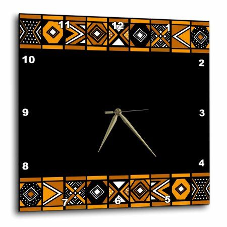 3dRose Brown and Black African Pattern - Art of Africa Inspired by Zulu Beadwork Geometric designs, Wall Clock, 13 by 13-inch